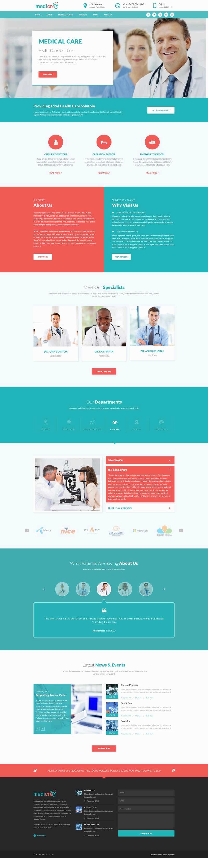 绿色的医院医疗健康行业网站模板