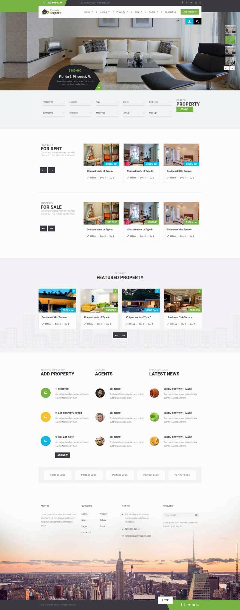 绿色的在线房产销售交易平台网站模板