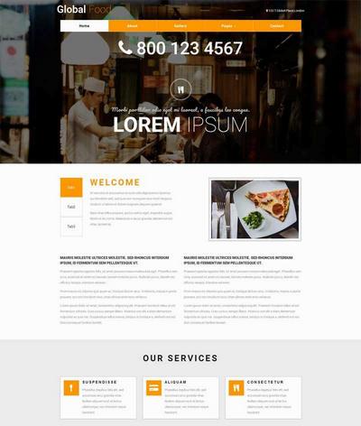 宽屏美食自助餐厅html网站模板