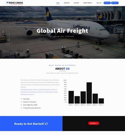 大气航空物流运输公html司网站模板