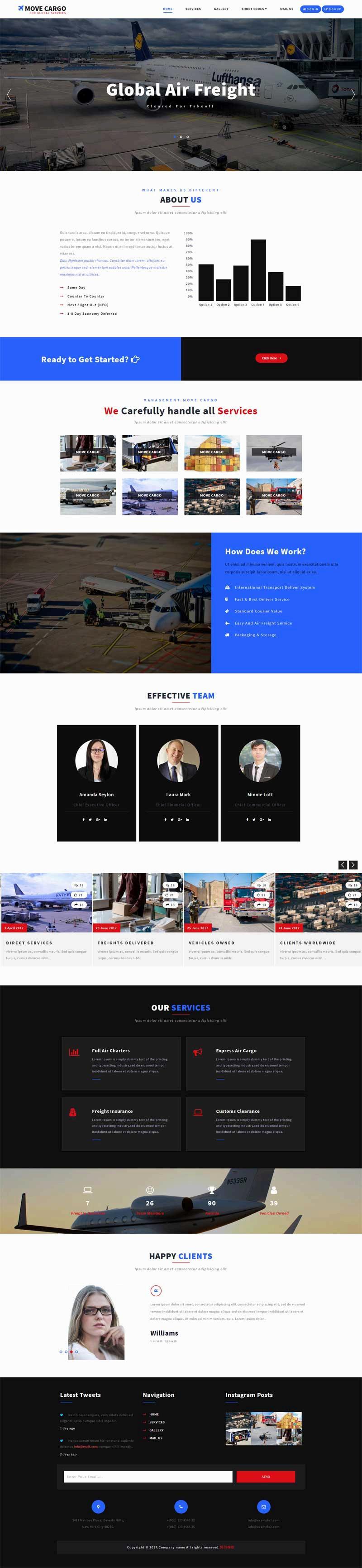 大气的飞机物流运输公司网站html模板