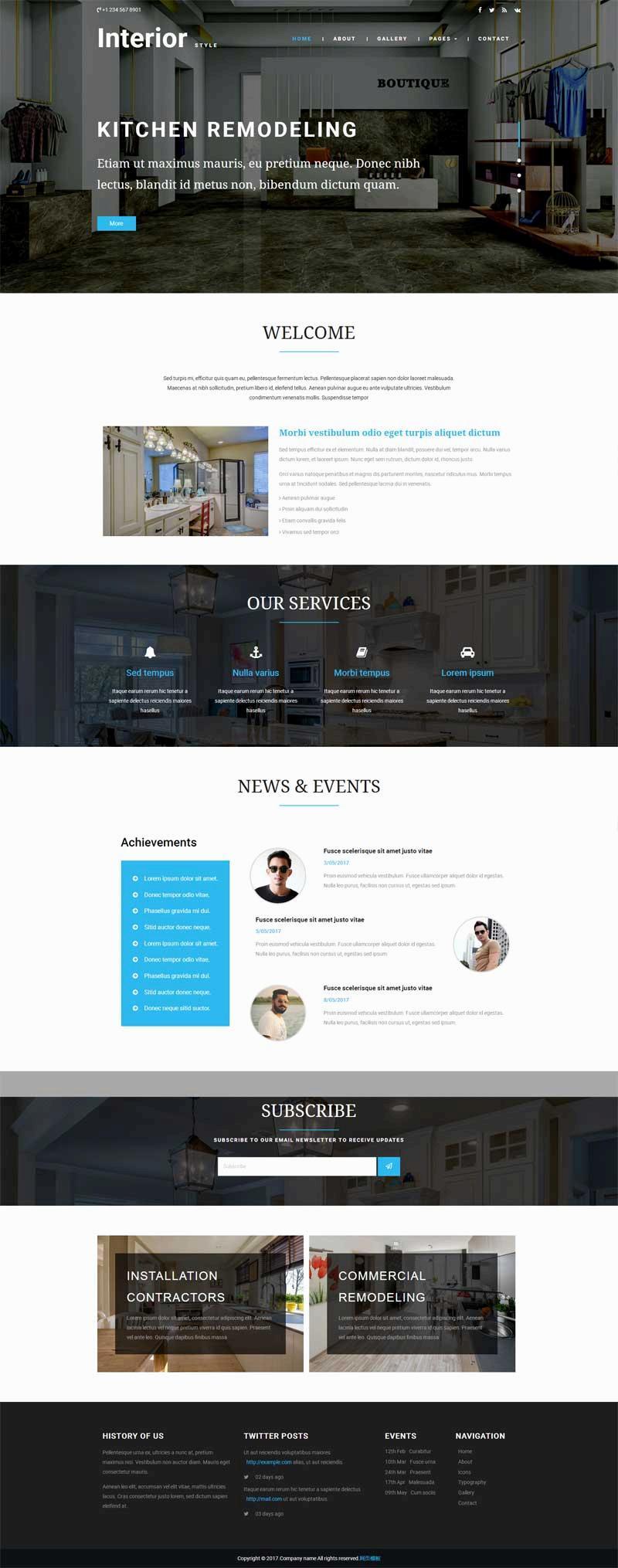 大气的室内家居装修设计企业模板html下载