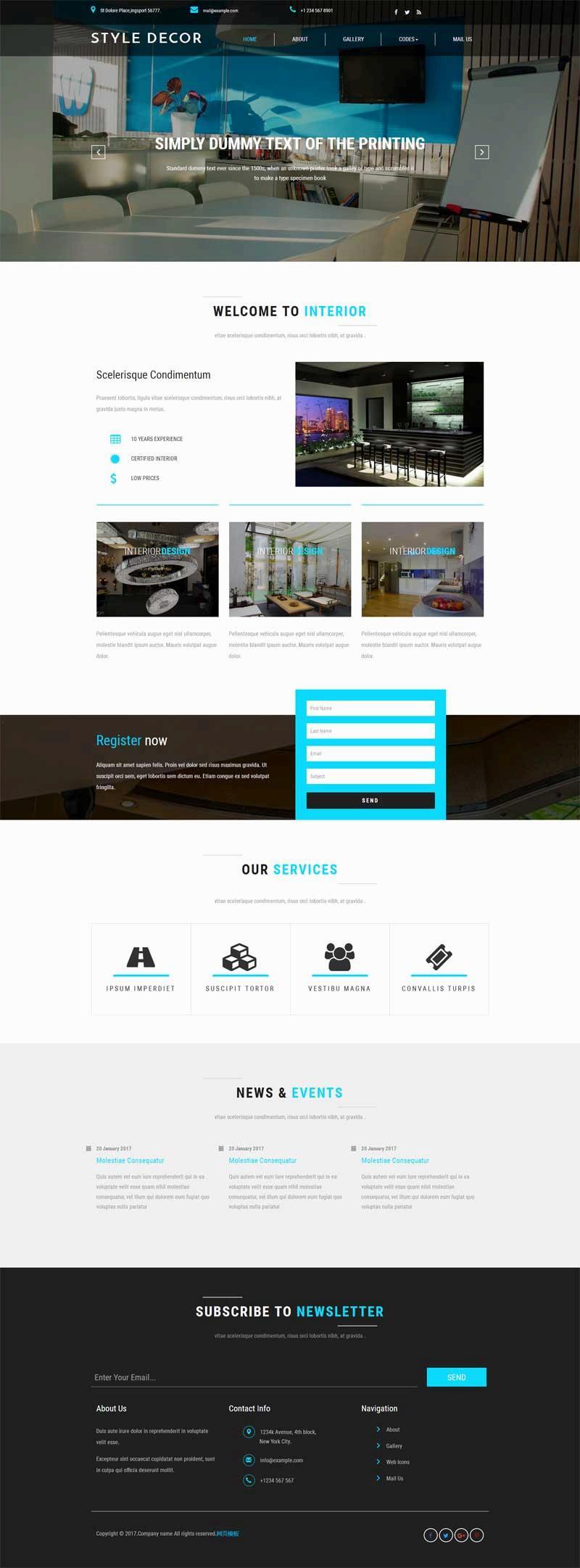 黑色的室内装修设计公司网站html模板源码