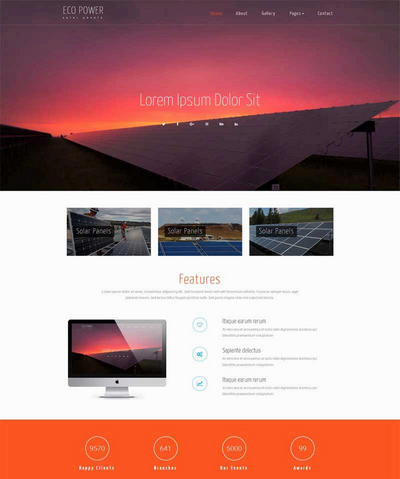简单大气太阳能发电公司网站html