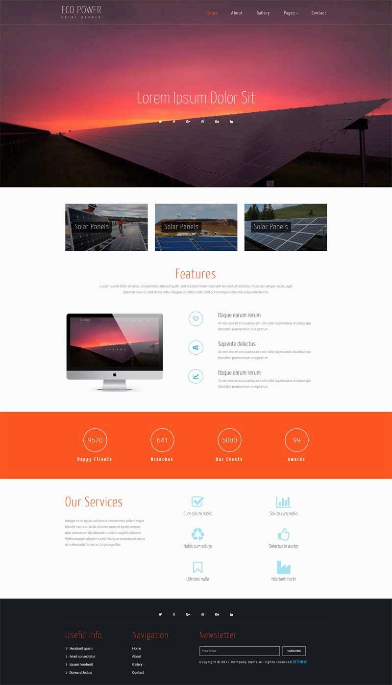 简单大气的太阳能发电公司网站html模板