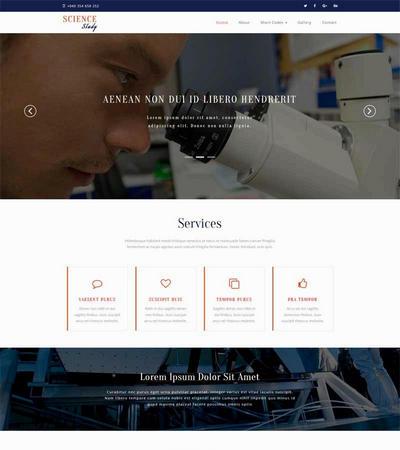 简洁宽屏生物科技研究网站html静