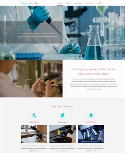 宽屏医疗化学实验室html静态网站