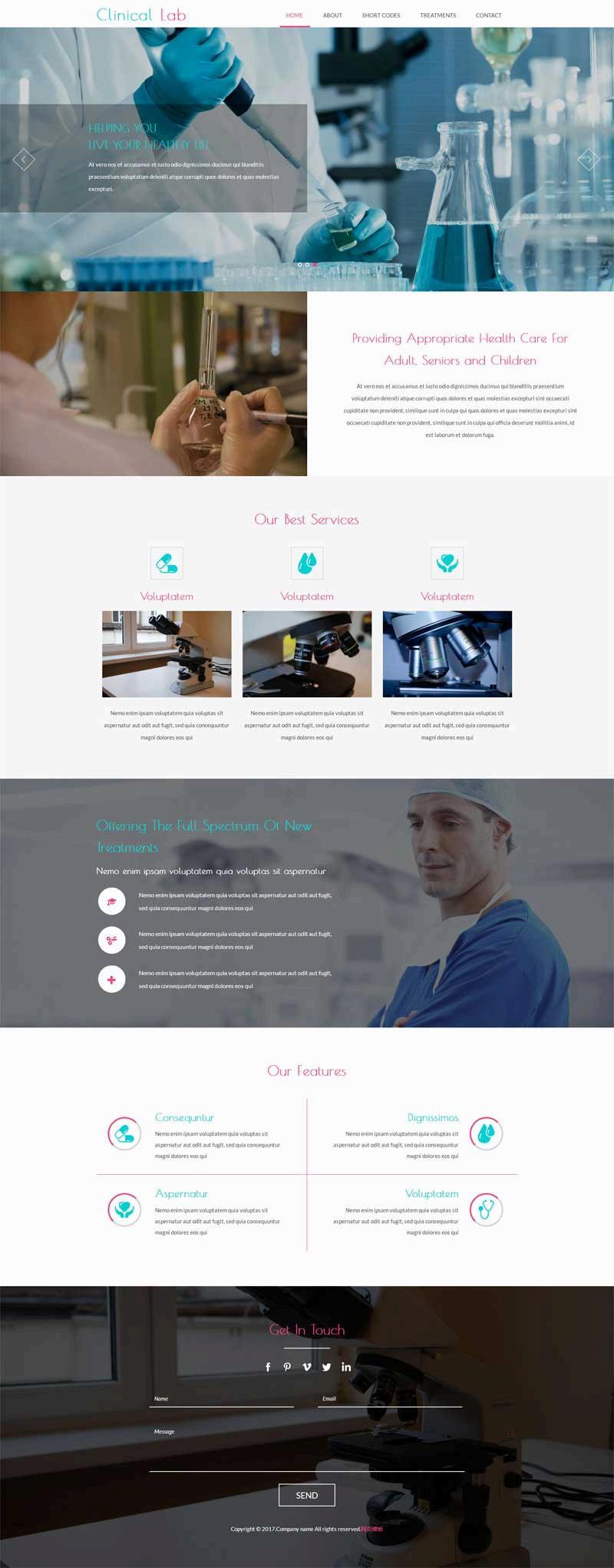 宽屏的医疗化学实验室网站模板