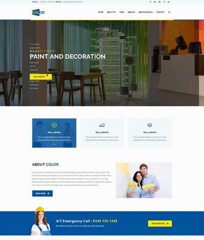 大气墙壁粉刷公司网站html静态模板