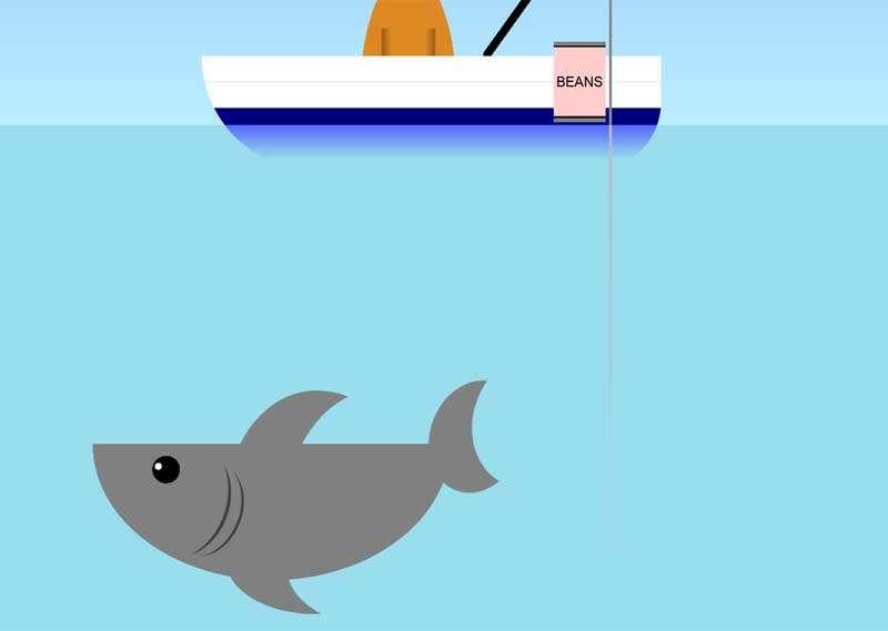 卡通水底的鲨鱼动画场景特效
