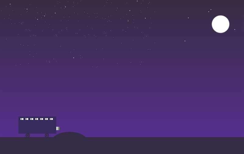 夜景巴士行驶动画场景特效