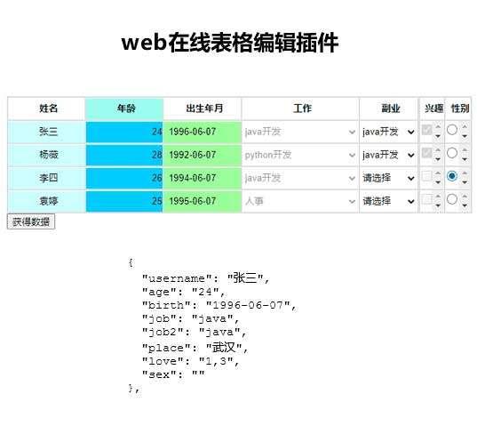 自定义数据表格编辑插件