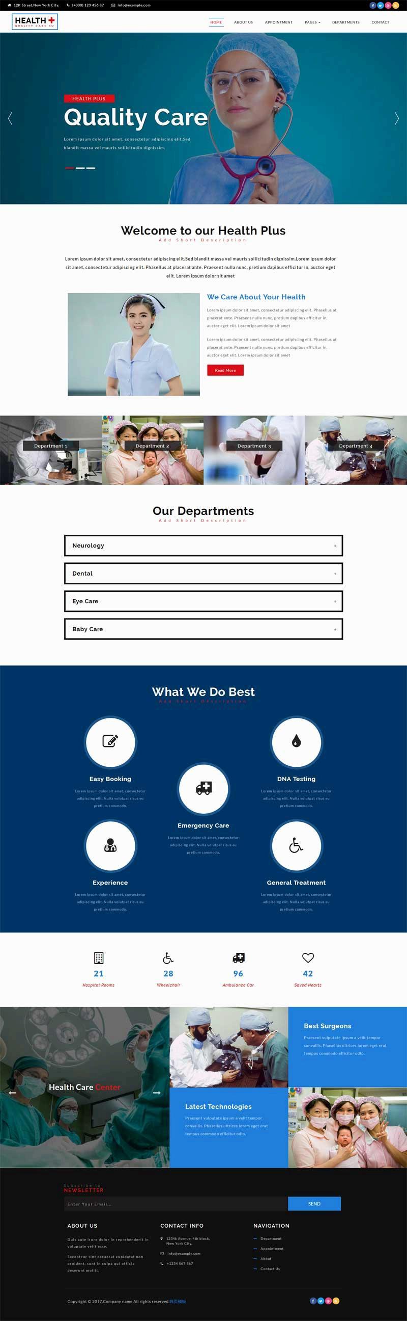 大气的妇幼保健医院网站模板