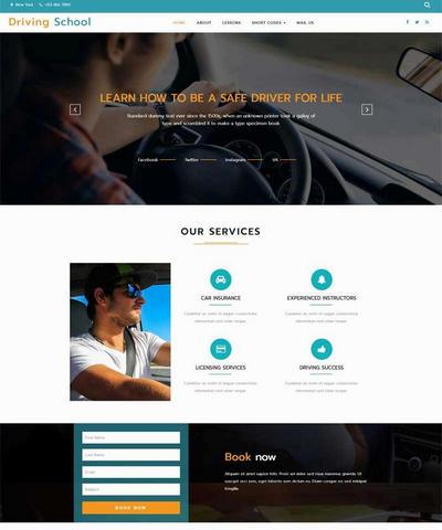 大气的国外汽车驾校学习网站html模板