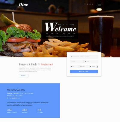 简单美食餐厅网上预订网站模板