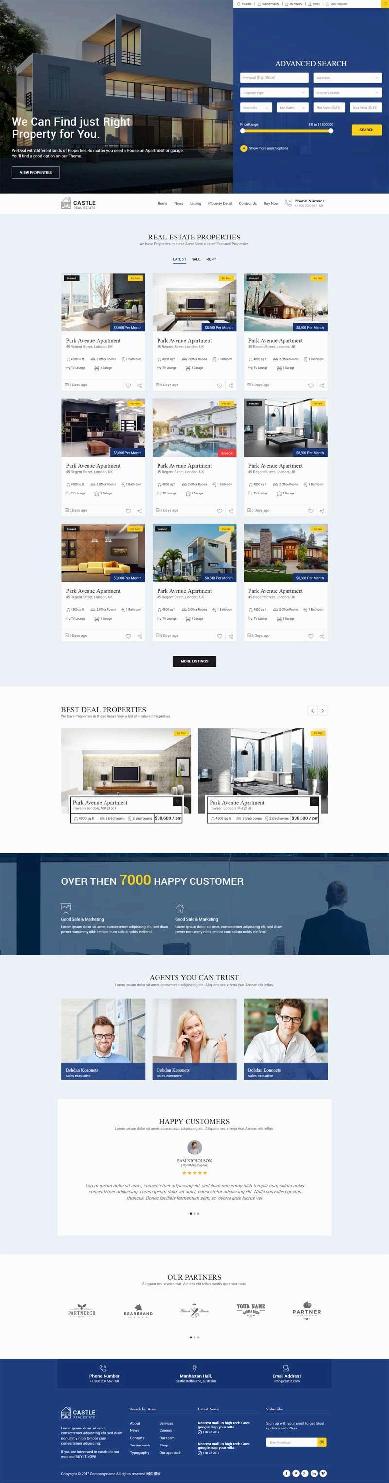 简洁大气的房屋中介销售公司网站html模板