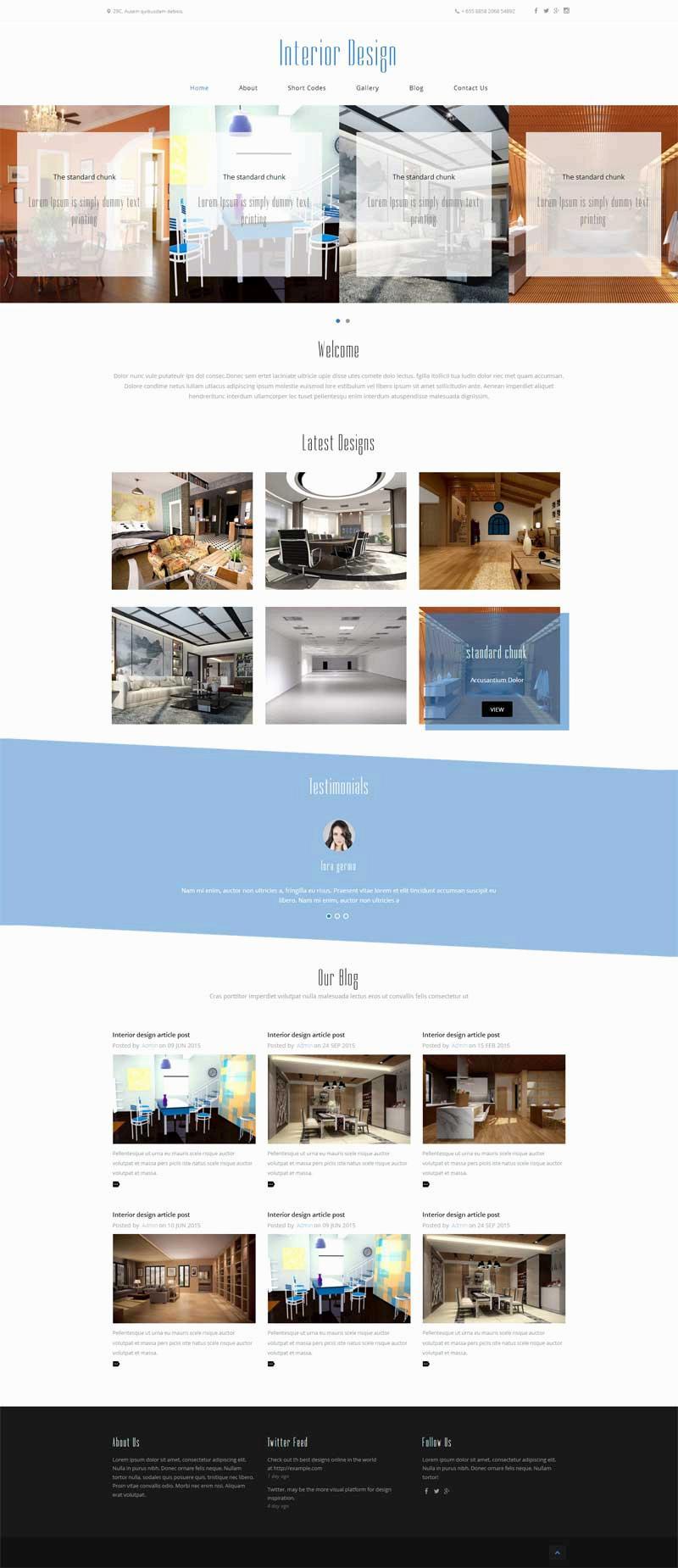 简洁的室内装饰设计公司网站静态模板