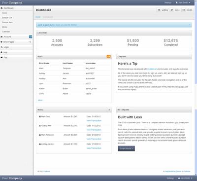 简单bootstrap风格的企业后台管理html模板下载