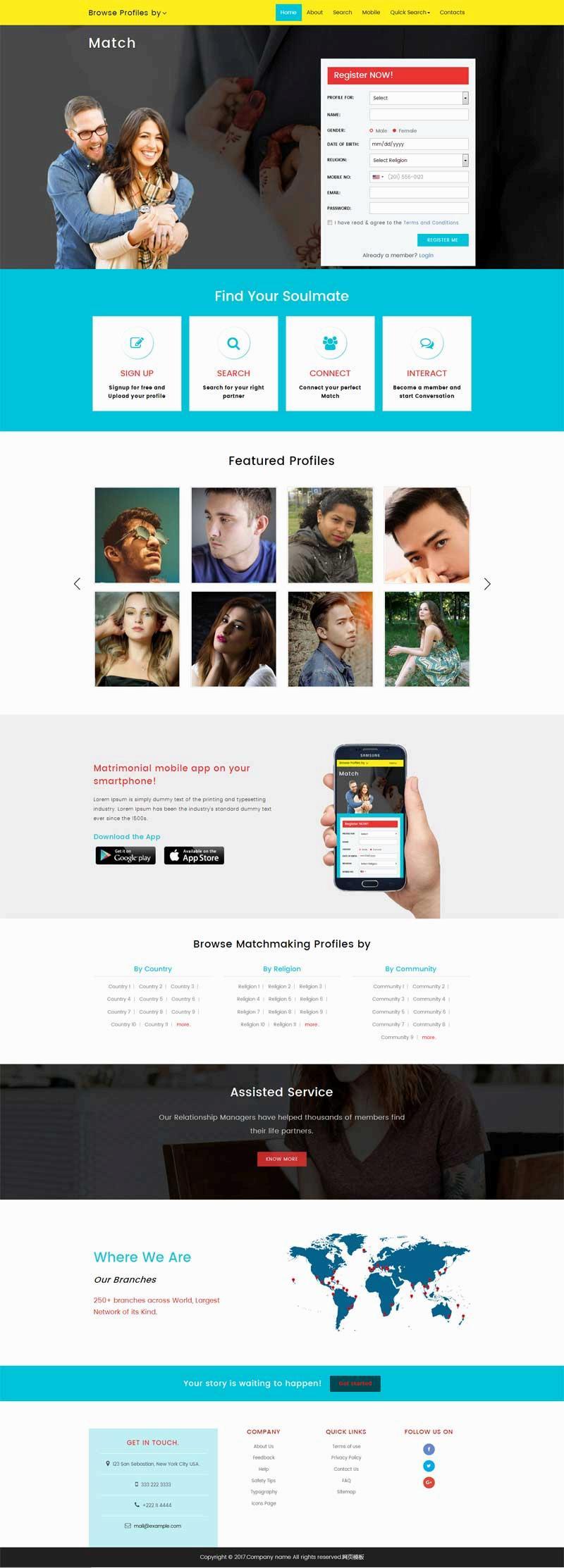 国外男女交友社交网站模板html整站