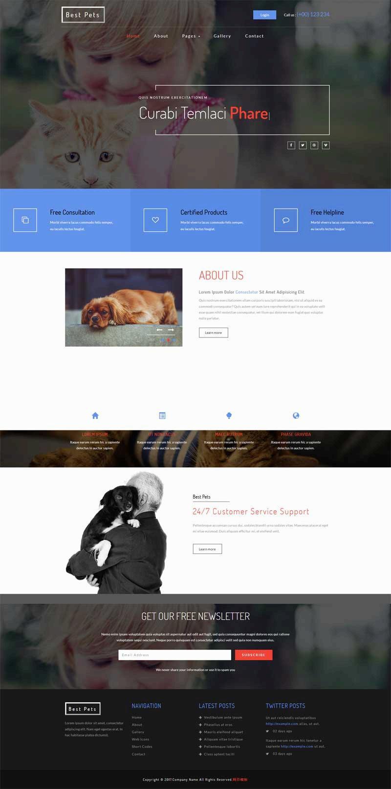 宽屏的家庭宠物购买网站模板html下载