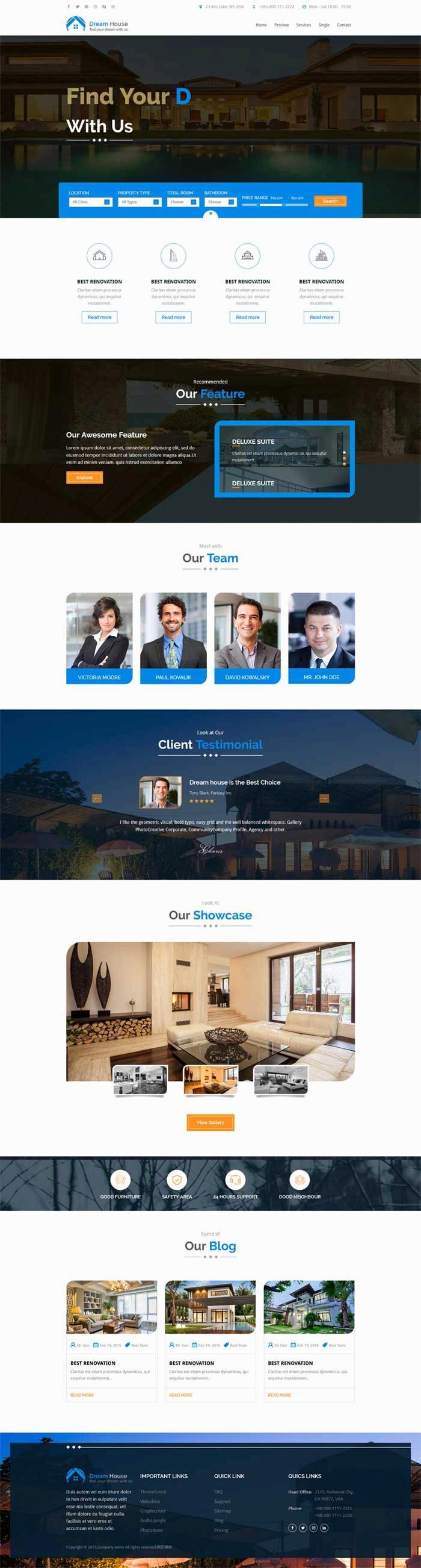html5蓝色大气的房产销售网站模板