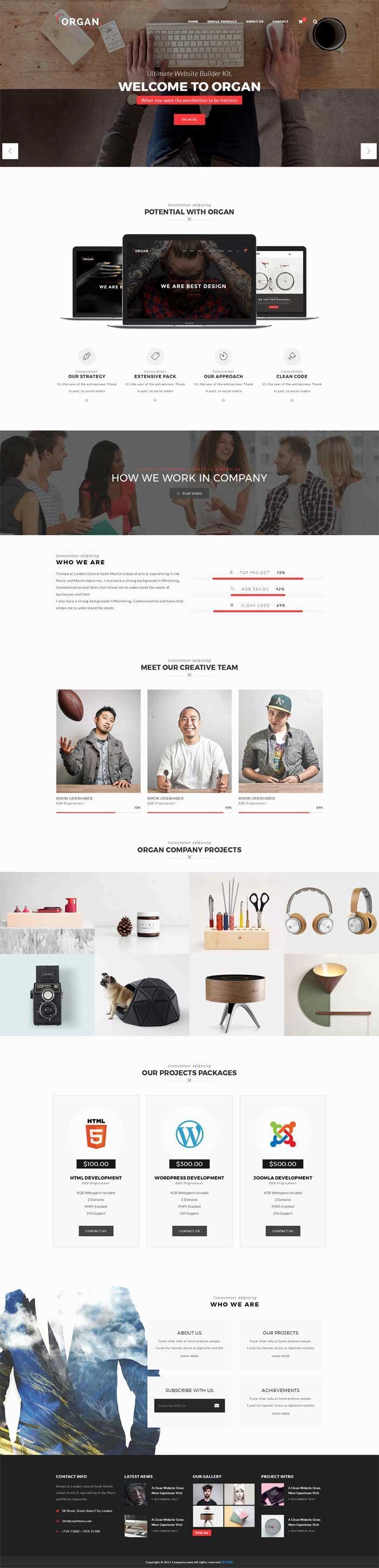 创意的生活家居设计公司网页模板