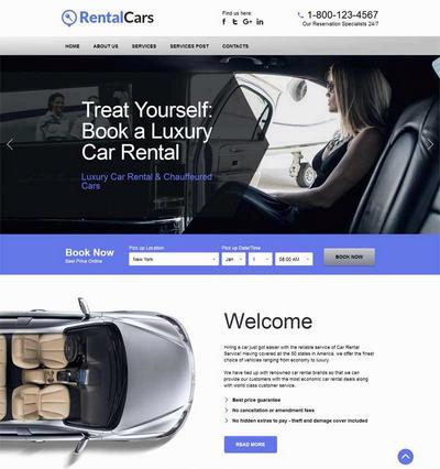 大气国外汽车租赁公司html网站模板