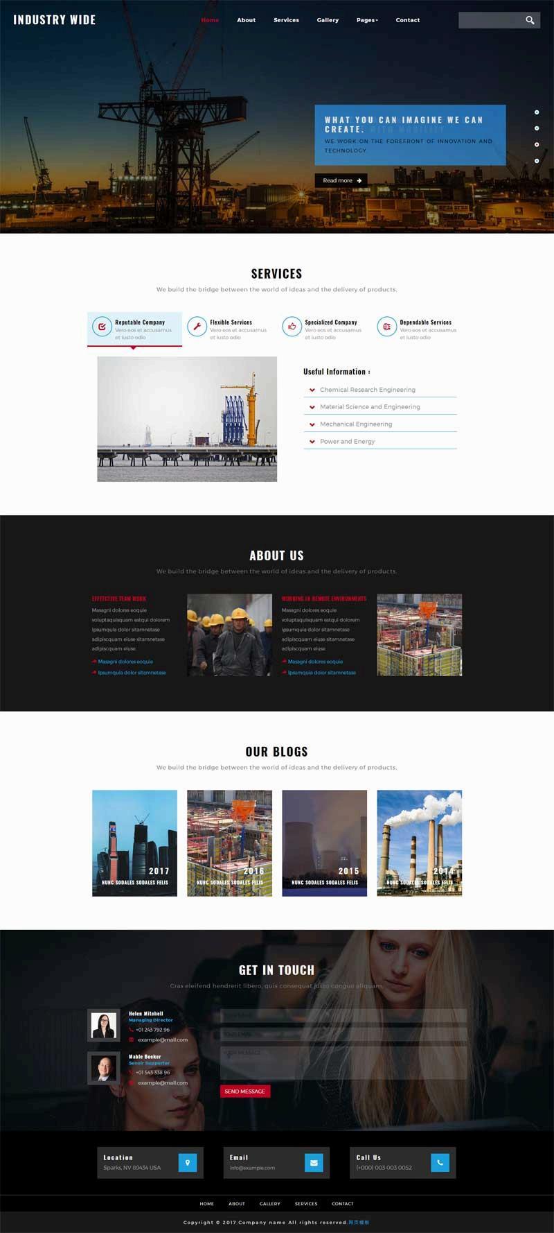黑色的工业制造公司网站静态模板