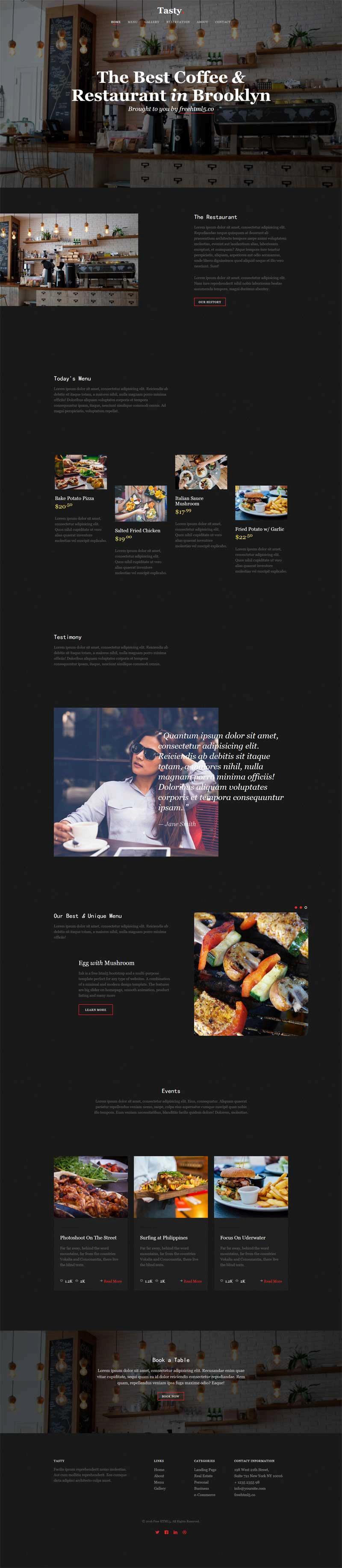 黑色的下午茶咖啡店网站html5模板