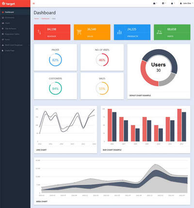 html5扁平化企业销售统计后台模板