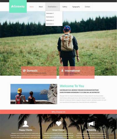 简洁国外旅游公司网站模板html源码