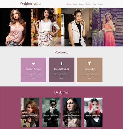 简洁时尚模特摄影展示静态网站模板