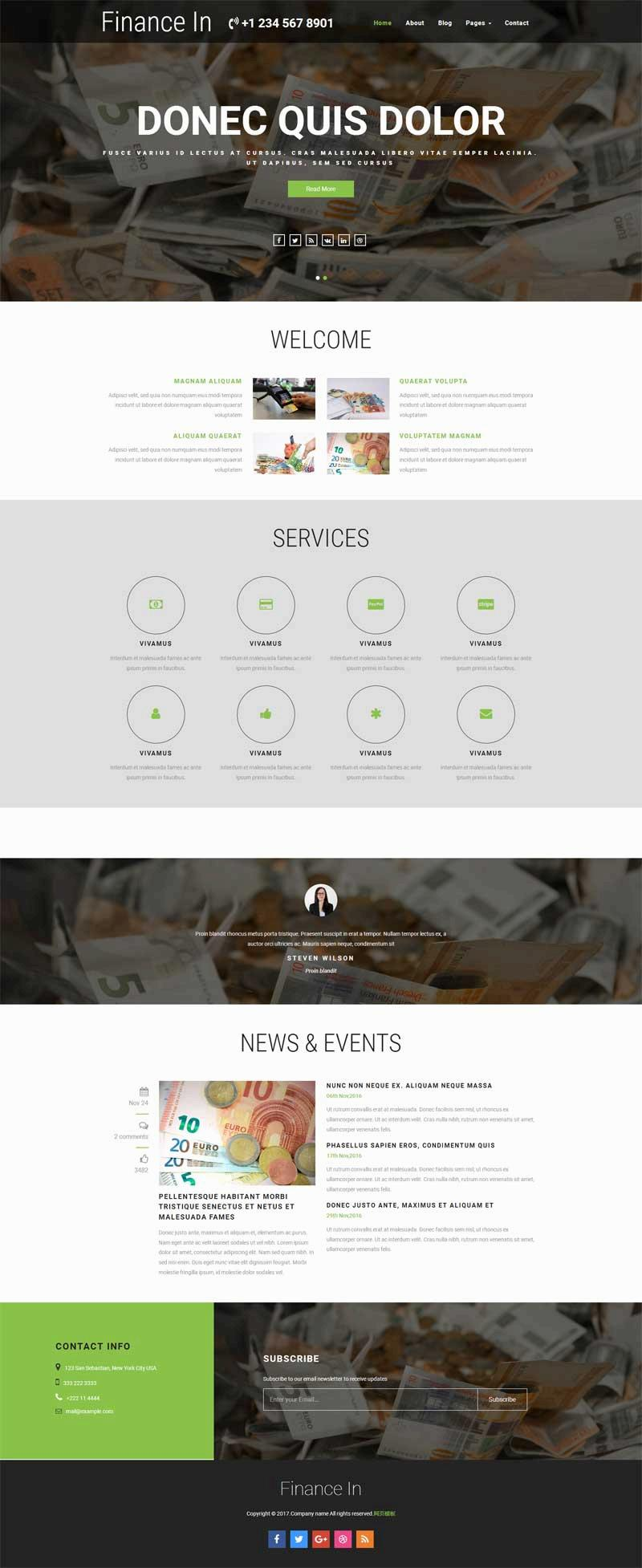 简洁实用的金融理财公司html全站模板