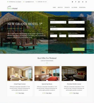 海边度假酒店预订网站html模板