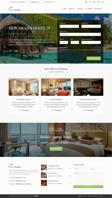 绿色的海边度假酒店预订网站html模板