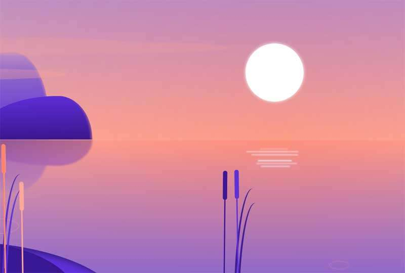 卡通的湖面上日出动画特效