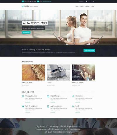 大气商务合作公司网站html5模板