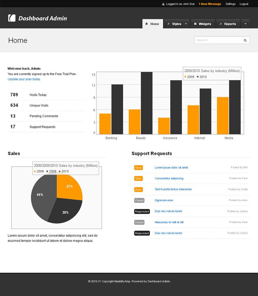 cms统计数据后台管理网页模板htm