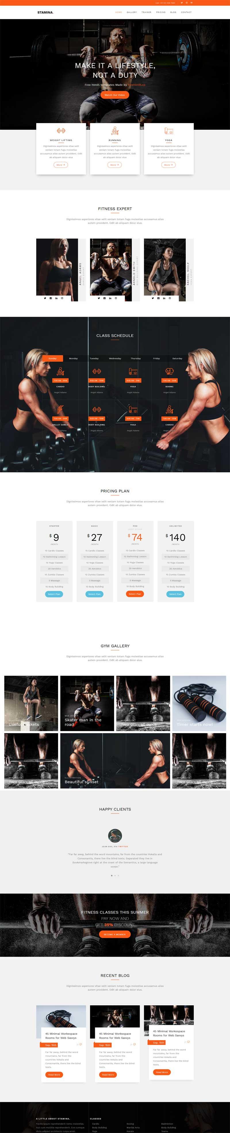 橙色宽屏的健身俱乐部网站响应式html5模板