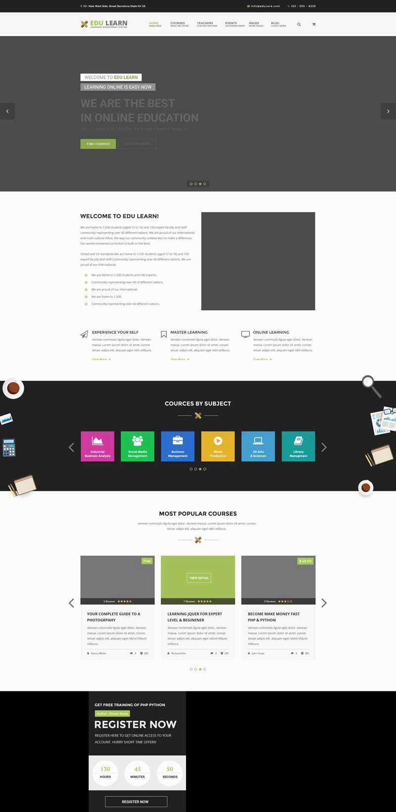 黑色扁平化的网络教育学院课程培训网站模板