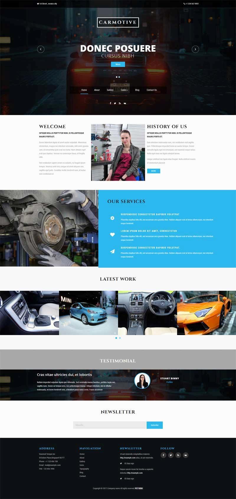 黑色的汽车维修服务公司网站html模板