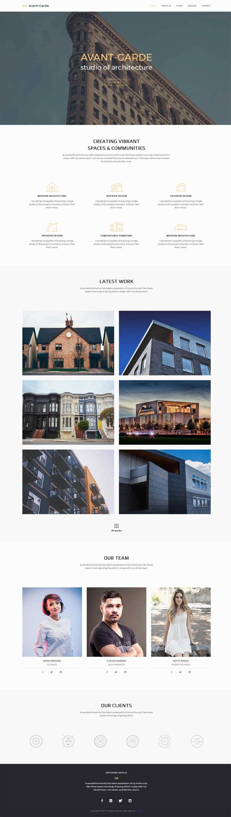 简单大气的建筑设计公司网站静态模板