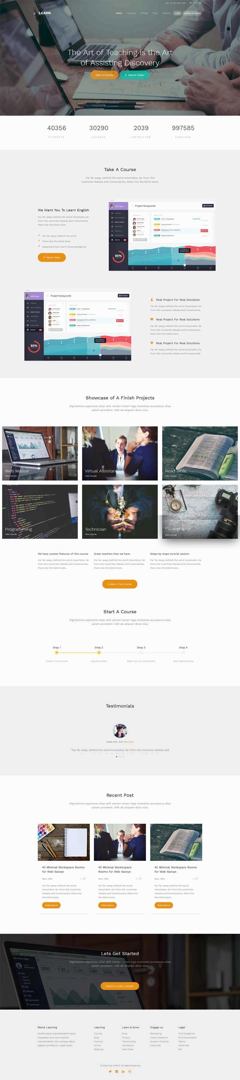 宽屏大气的在线教育培训html5网站模板
