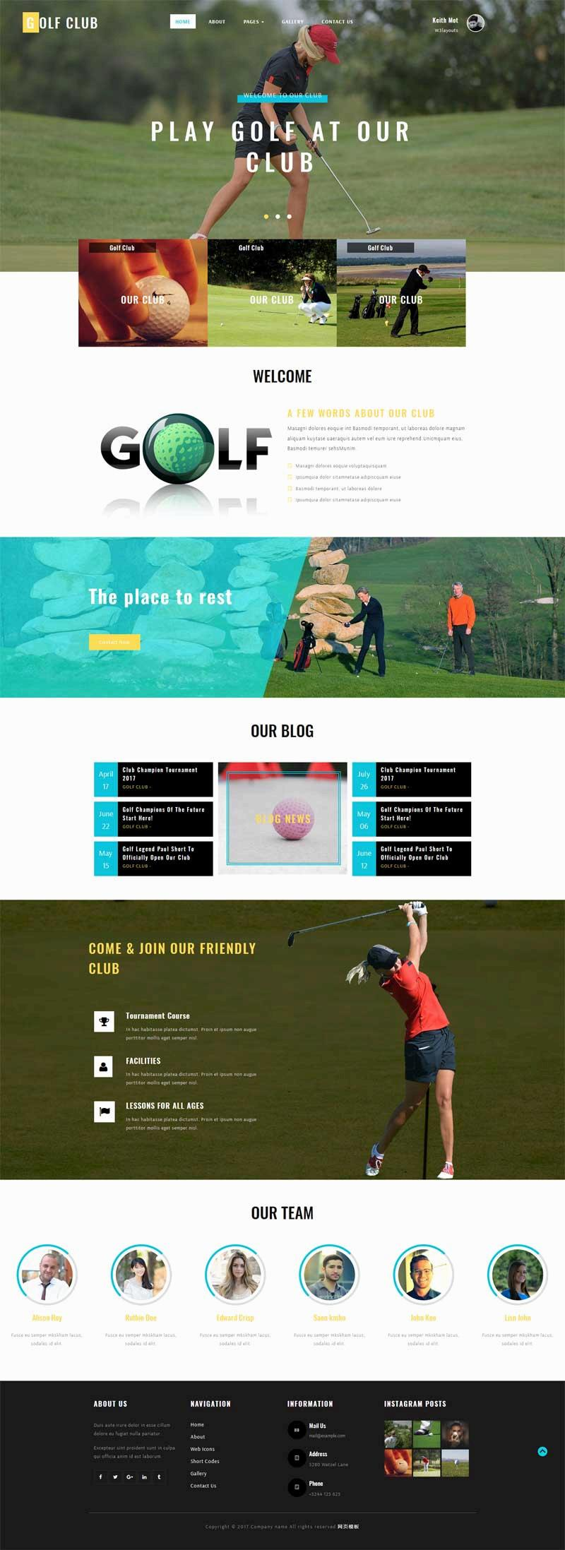 宽屏的高尔夫运动比赛网站模板html下载