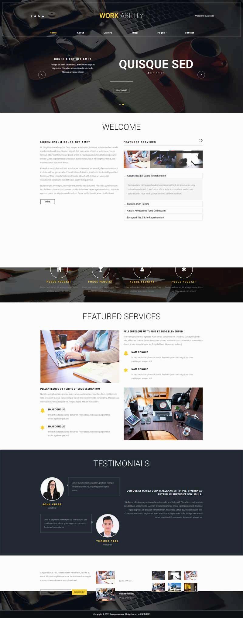 黑色宽屏的商务咨询服务公司网站html模板