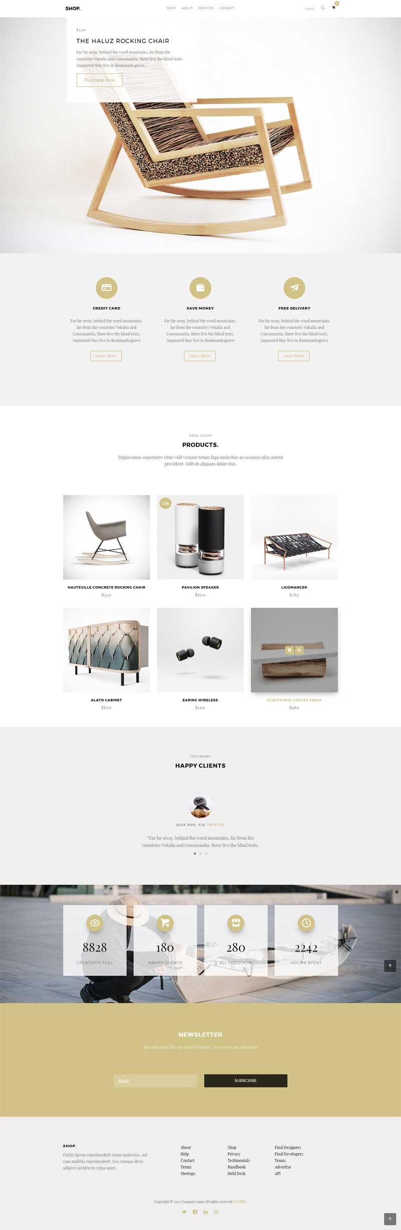 简单大气的木家具公司展示网站模板