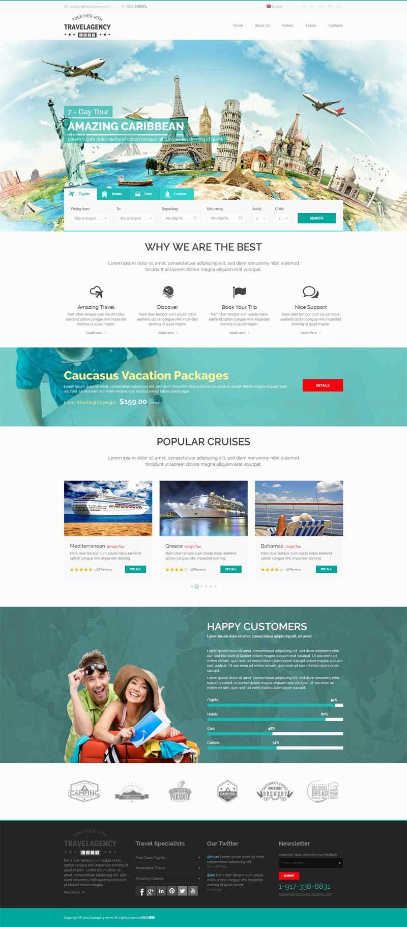 绿色的国外旅游一站式服务网站模板