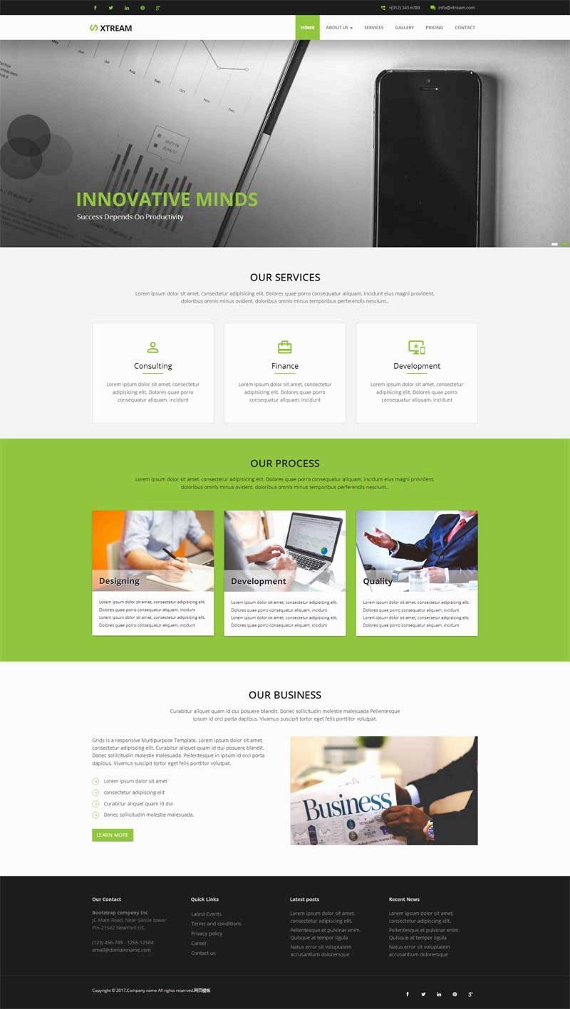 绿色宽屏的商业咨询公司网页模板