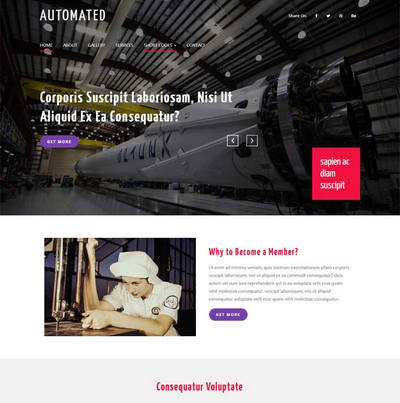 宽屏机械工业整站html网站模板