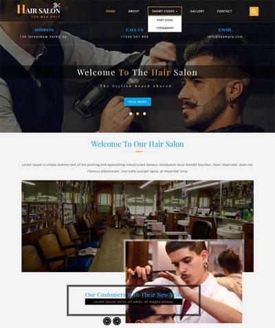 简洁宽屏发型设计理发店网站模板